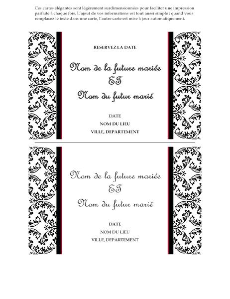 Carte de faire-part de mariage Réservez la date (motif noir et blanc)