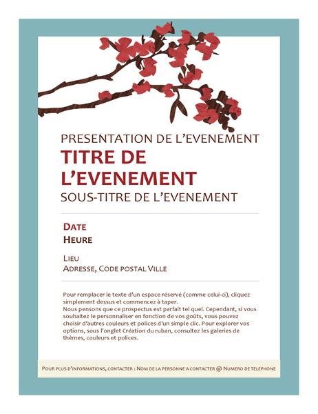 Prospectus d'événement de printemps (avec une branche de floraison)