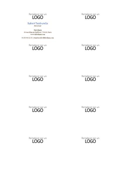 Cartes de visite, mise en page horizontale avec logo, nom avec majuscule initiale