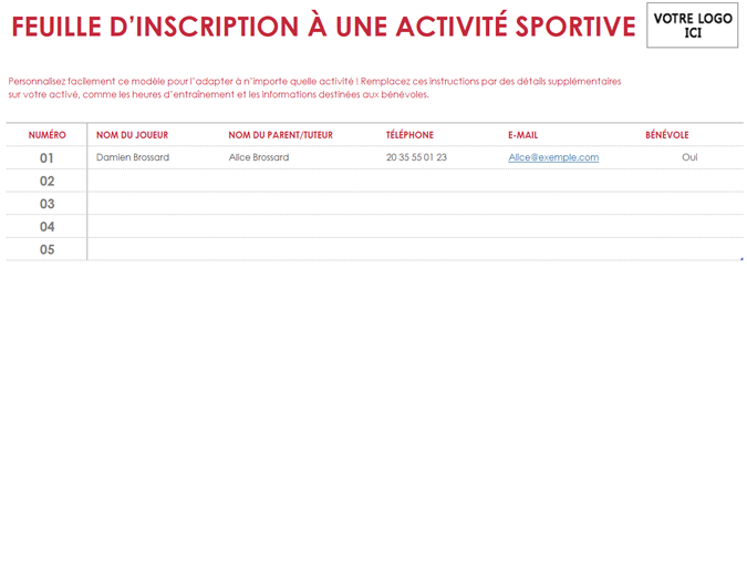Feuille d'inscription à un sport