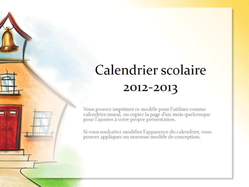 Calendrier scolaire 2012-2013 (conception École)