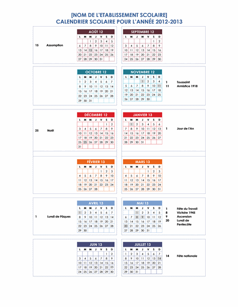 Calendrier scolaire 2012-2013 (1 page)