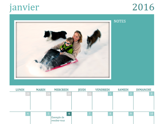Calendrier photo familial