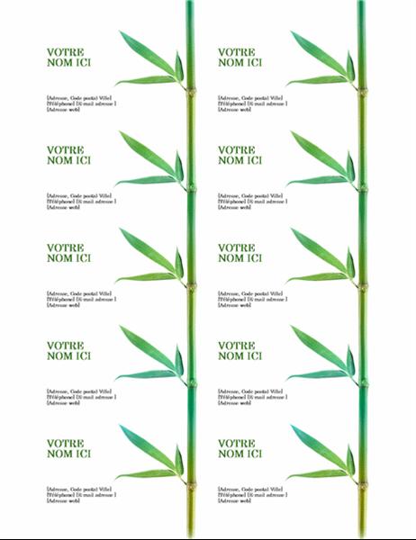Cartes de visite (Bambou, 10 par page, compatible avec Avery 5371 et formats similaires).