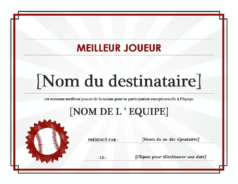 Certificat du meilleur joueur