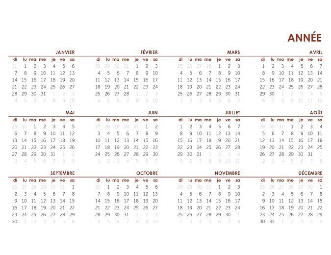 Calendrier annuel complet