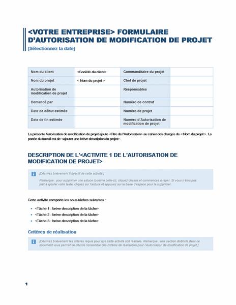 Formulaire d'autorisation de modifications de projet