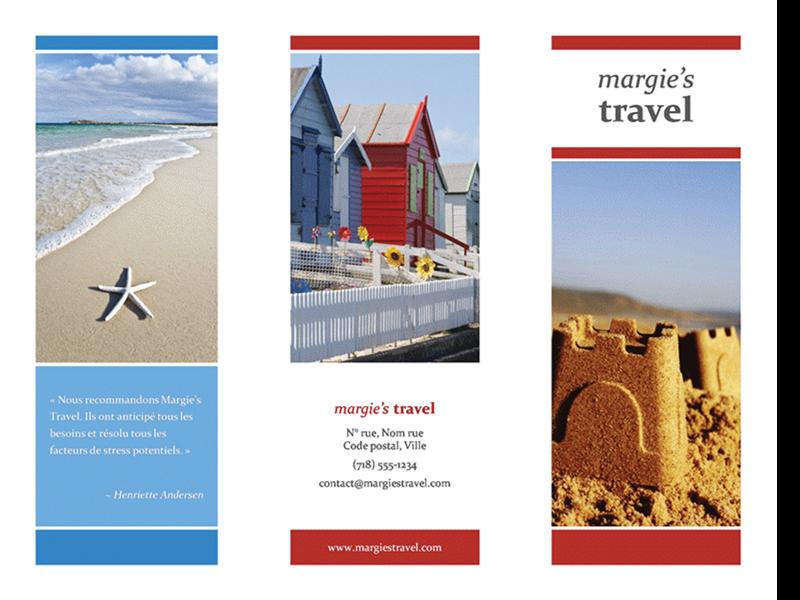 Brochure de voyage en trois parties (rouge, or, et bleu)