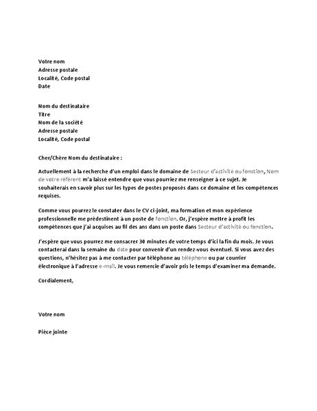 Lettre de demande d'entretien informel