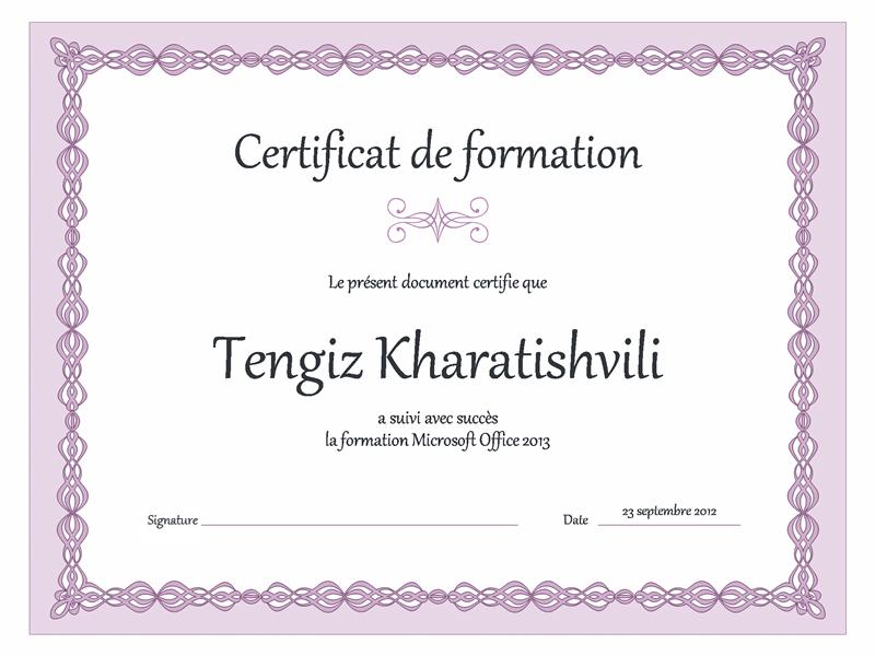 Certificat de formation (conception de chaîne violette)