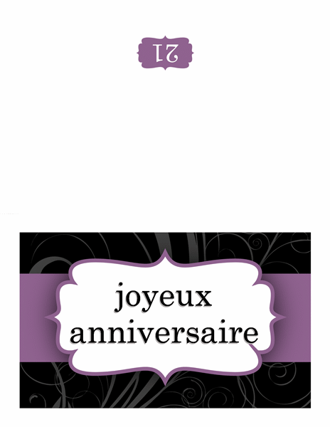 Carte d'anniversaire (conception de ruban violet)