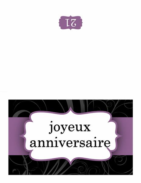 Carte d'anniversaire (conception de ruban violet)