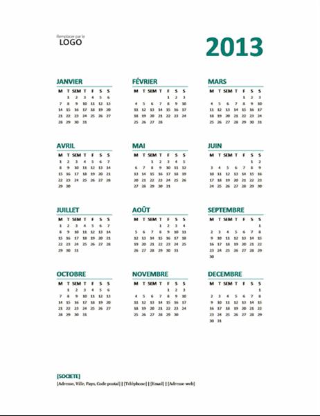 Calendrier annuel 2013