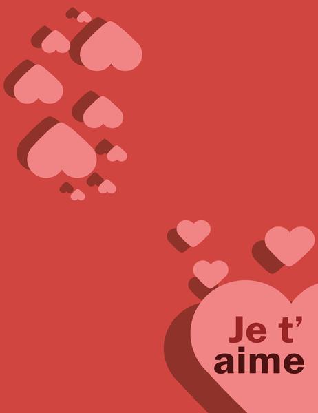 Carte Je t'aime (pliable en quatre)