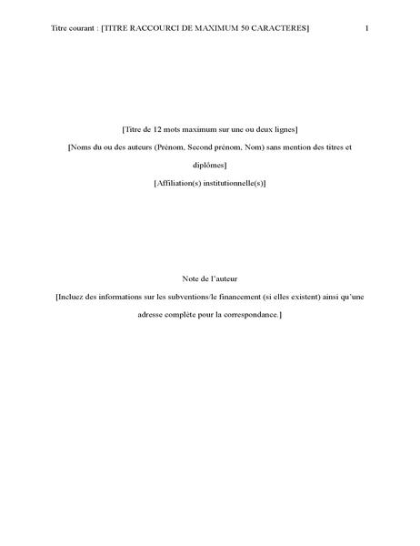 Rapport de style APA (6eédition)