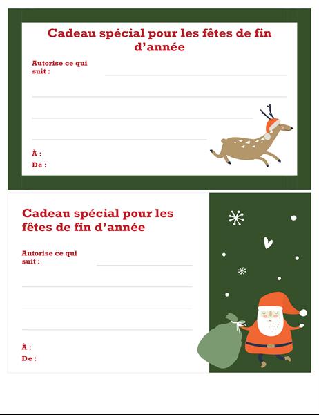 Bon cadeau de Noël (conception Esprit de Noël)