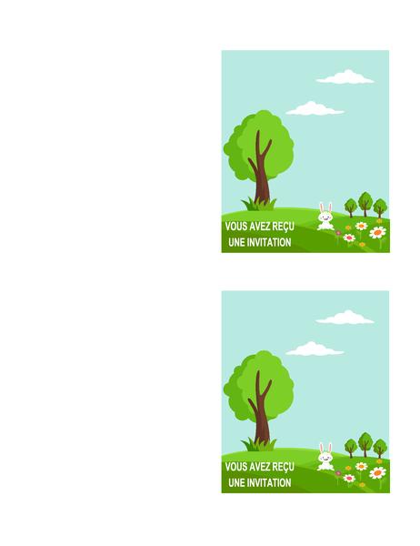 Invitation à une fête printanière (2 par page, compatible avec les références Avery 5315 et similaires)