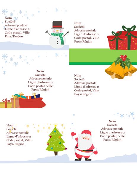 Étiquettes d'expédition fêtes de fin d'année (conception Esprit de Noël, 6 par page, imprimables sur support Avery 5164 et semblable)
