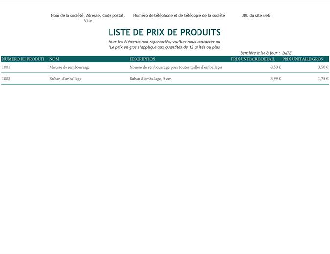 Liste de prix de produits