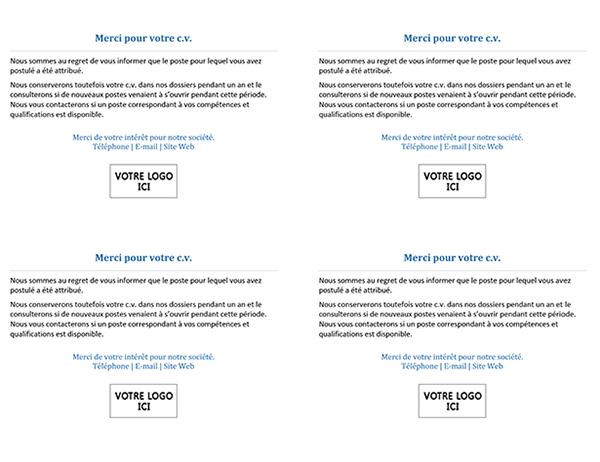 Carte postale pour que les candidats à un emploi lorsque le poste est attribué (4 par page)