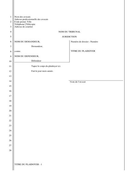 Plaidoyer (28 lignes)