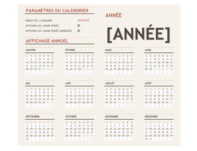 Tout calendrier annuel avec des jours fériés