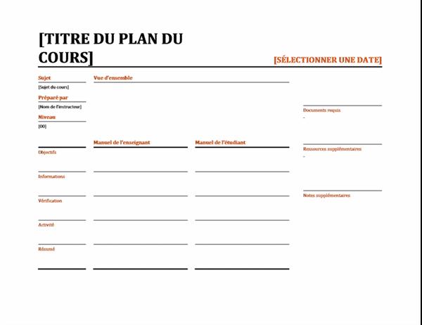 Planificateur de leçons quotidiennes (couleur)