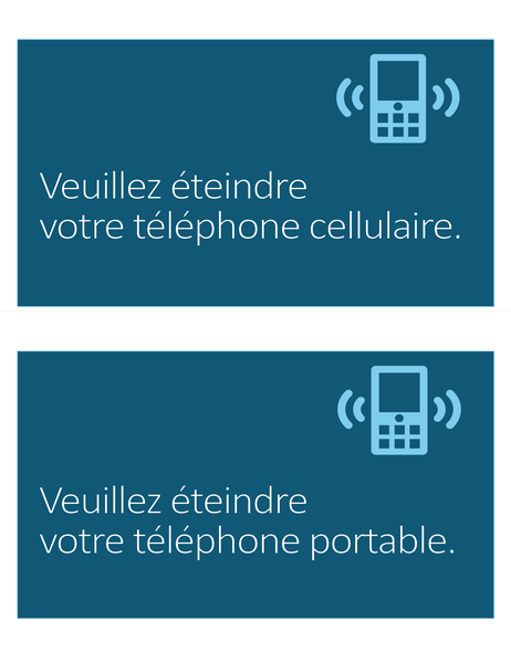 Pictogramme Téléphone cellulaire interdit (2 par page)