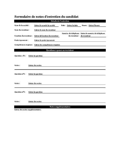 Formulaire de notes d'entretien du candidat