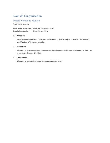 Procès-verbal de réunion (version courte)