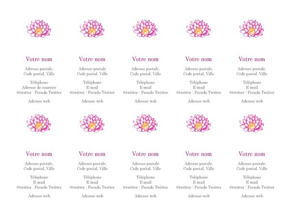 Cartes de visite personnelles Fleur (verticales)