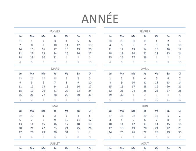 Calendrier annuel (lun.-dim.)