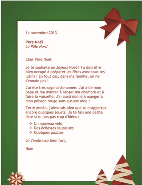 Lettre au p re no l office templates - Modele lettre pere noel ...