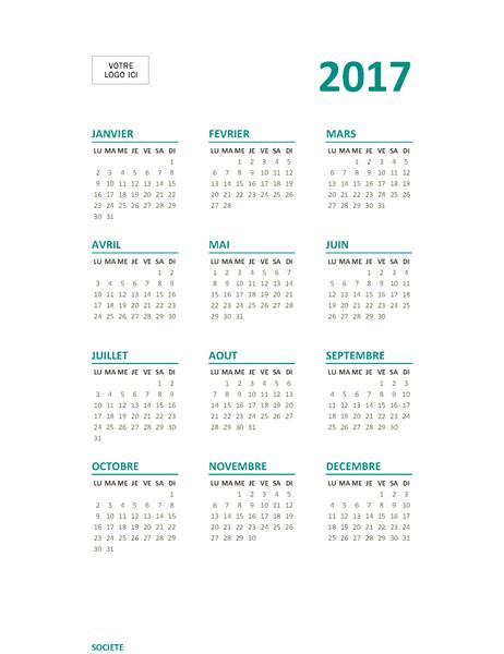 Calendrier2017 sur une page (lun-dim)