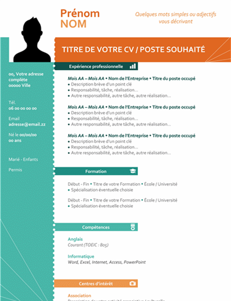 CV moderne coloré (design vertical)
