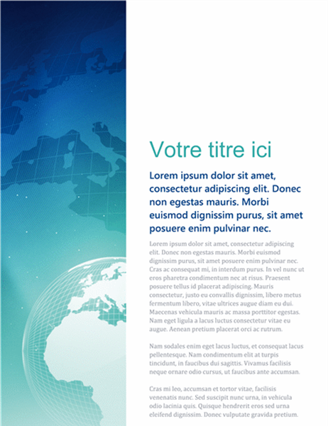 """Page de garde """"Monde"""" pour rapport"""