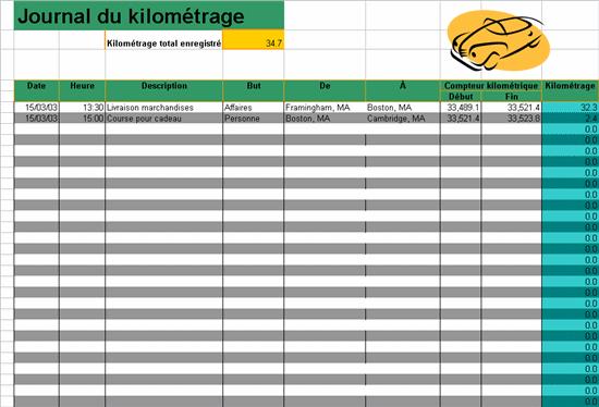Journal du kilométrage