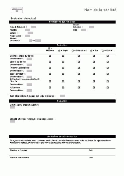 Formulaire d'évaluation d'employé (formulaire court)