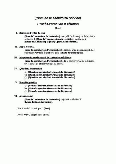 Procès-verbal d'une réunion formelle