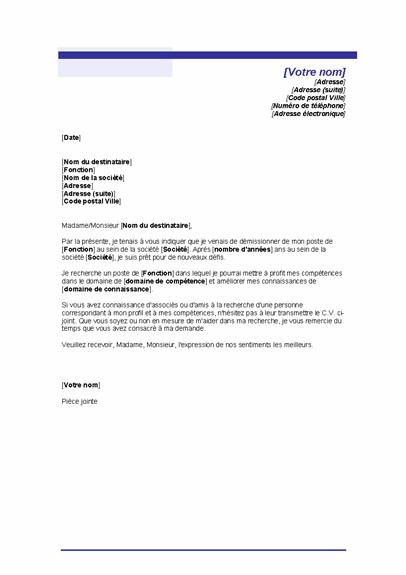 Lettre indiquant votre recherche d'emploi (thème Trait bleu)