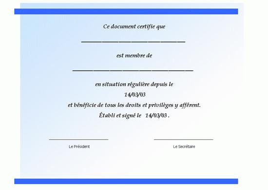 Certificat d'adhésion