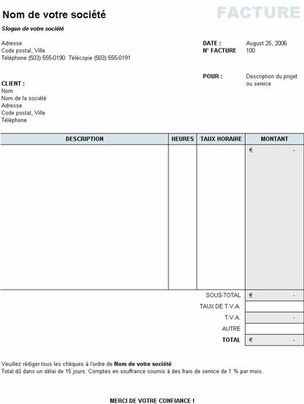 Facture de services avec calcul de taxe