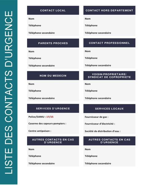 Liste des personnes à contacter en cas d'urgence