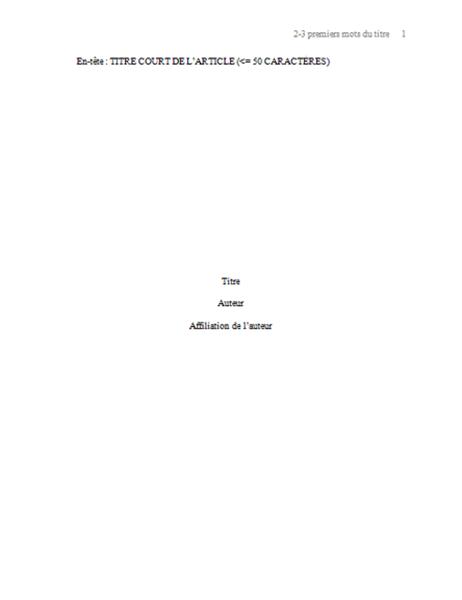 Format de papier APA
