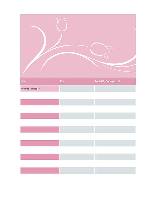Liste des invités au mariage (motif tulipe)