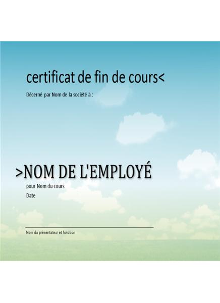 Certificat de fin de formation