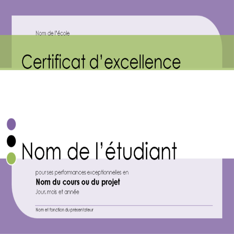 Prix d'excellence pour les étudiants