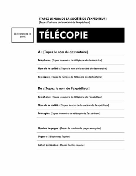 Page de garde de télécopie (Médian)
