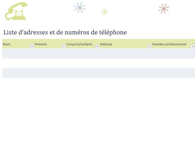 Liste téléphonique