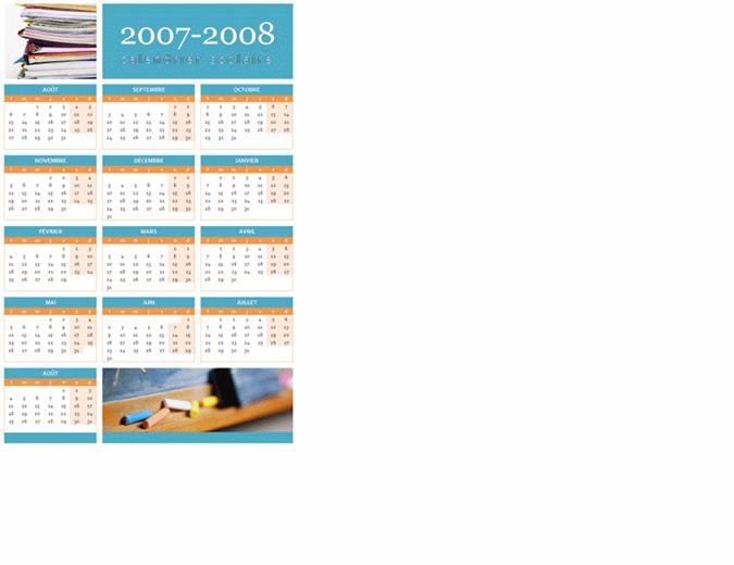 Calendrier scolaire 2007-2008 (1 page, lun-dim)